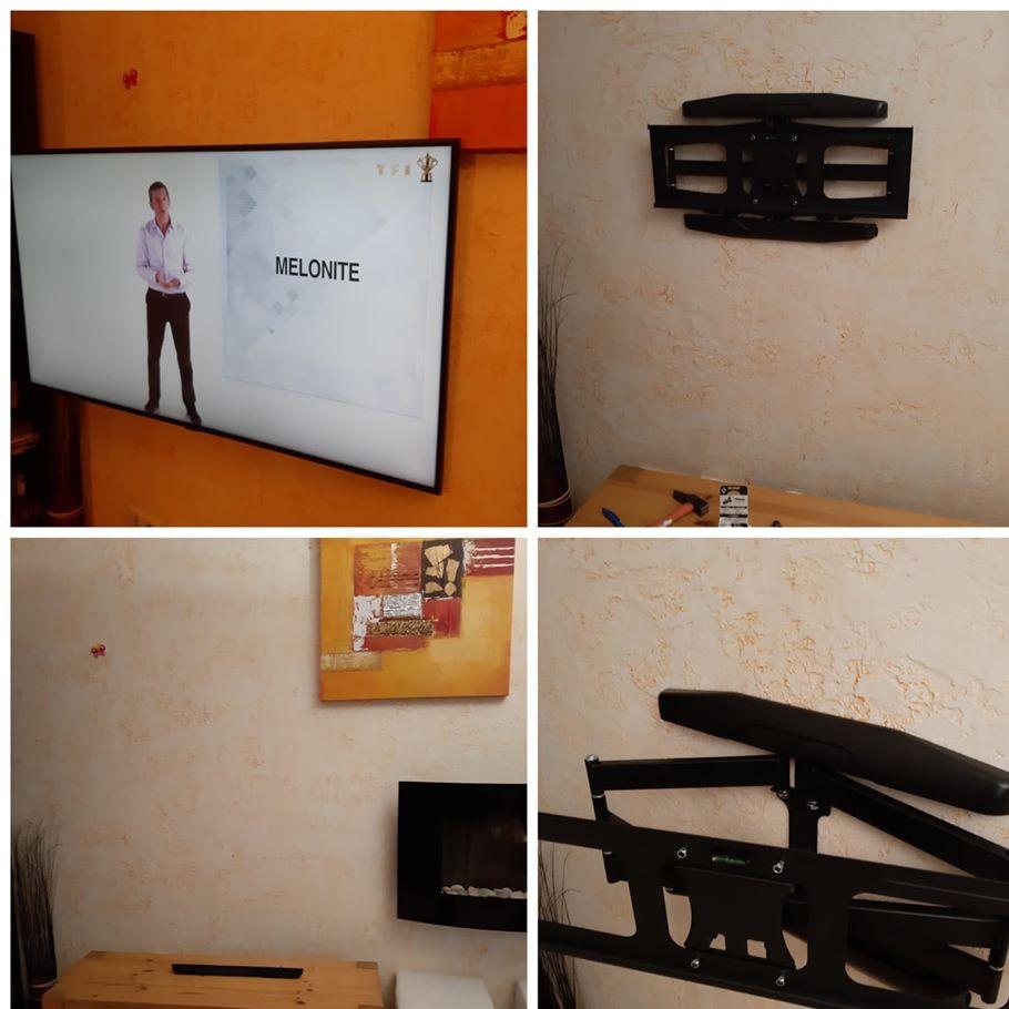 Fixation murale de télévision réalisée à Niaux (09400)
